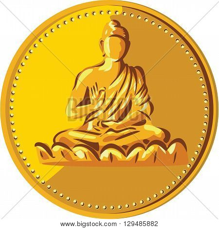 Illustration of a gold coin medallion showing silhouette of Gautama Buddha Siddhārtha Gautama Shakyamuni Buddha in lotus position viewed from front done in retro style.
