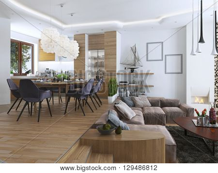 Studio apartment with living room and dining room in a contemporary style. Large sofa with designer coffee low table and decoration on the shelves. Dining in an elevated podium. 3D render. poster