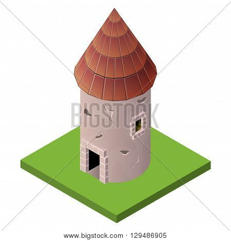 Isometric icon of medieval tower. Vector illustration. Stone built fort or castle.