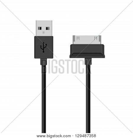Connectors and sockets for PC and mobile devices vector illustration. Black cords cable