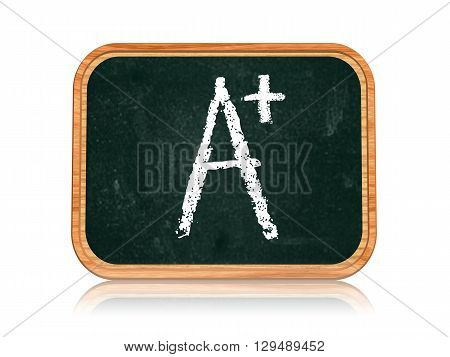 A plus - chalk text on 3d isolated wooden blackboard banner learning success concept