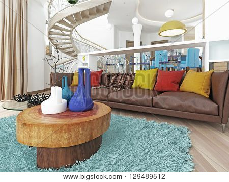 Luxury large living room in the style of kitsch. Contemporary living room with large leather brown sofa with colorful pillows and two green chairs with a fireplace. 3D render.