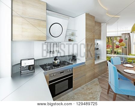Modern Kitchen Dining Room In The Style Of Kitsch.