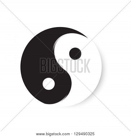 Vector illustration ying yang symbol of harmony and balance. Ying yang icon