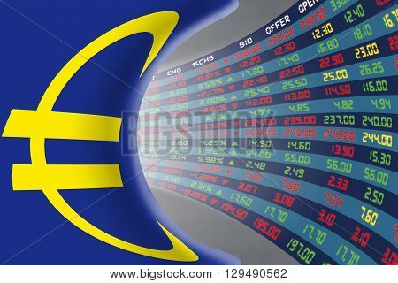 Flag of European Union with a large display of daily stock market price and quotations during normal economic period. The fate and mystery of EU stock market tunnel/corridor concept.