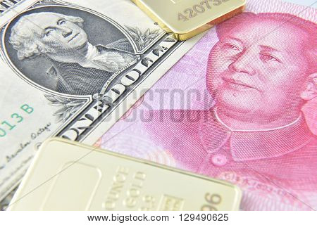 Chinese yuan / US dollar / gold bullion. A concept of China as the US largest foreign creditor which held trillions in US treasuries reflecting the dramatic expansion of Beijing's economic influence. poster