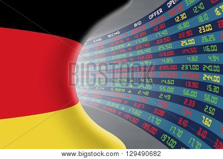 National flag of Germany with a large display of daily stock market price and quotations during normal economic period. The fate and mystery of German stock market tunnel/corridor concept.