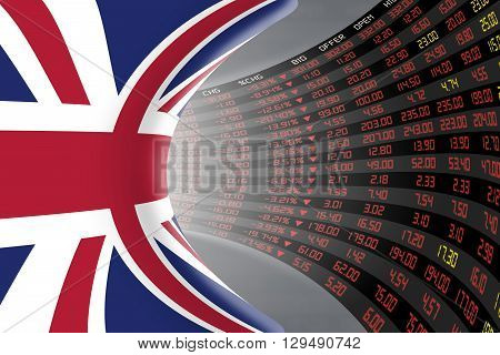 Flag of the United Kingdom with a large display of daily stock market price and quotations during economic recession period. The fate and mystery of the UK stock market tunnel/corridor concept.