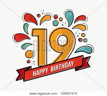 Colorful Happy Birthday Number 19 Flat Line Design