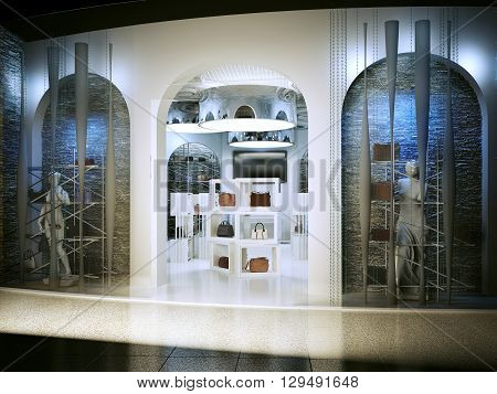 Entrance into a modern store selling handbags. Shop for art deco style with a touch of antiquity. Shop white with lots of bags on the shelves. 3D render.