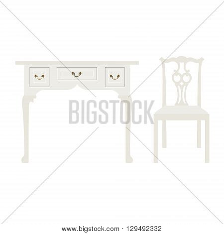 Vector illustration vintage luxury white table and chair. Retro furniture. Console table