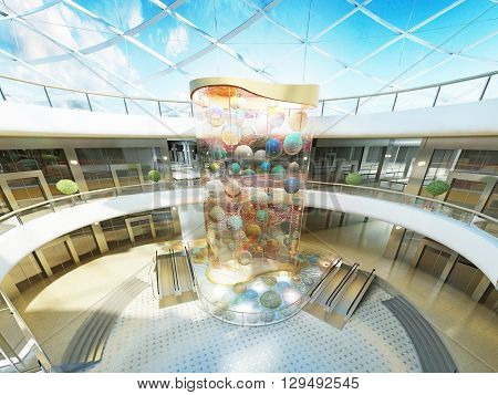 Multilevel Megamall hall with glass roof and a fountain with a decorative glass stele with multi-colored balls. 3D render.