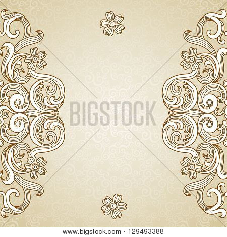 Vector Lace Card In East Style On Moroccan Seamless Background.