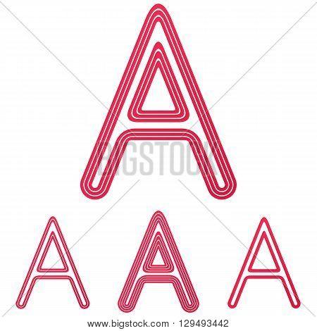 Crimson line letter a logo design set