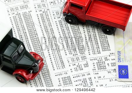 Digital tachograph printed day shift with lorry.