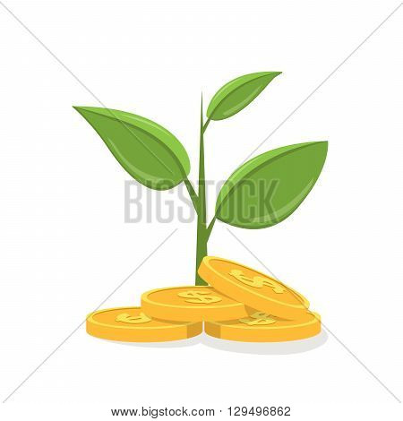 Money tree. Money tree icon. Money tree flat vector illustration. Money tree isolated illustration. Money tree with shadow