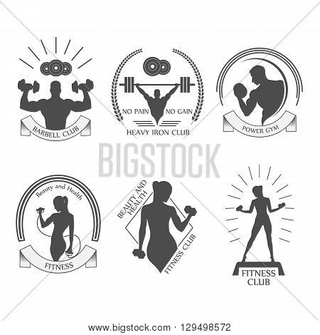 icons fitness club sport style vector illustration