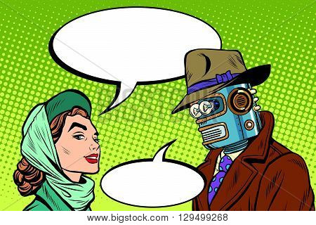 Couple man robot and beautiful woman pop art retro style. Science fiction. Artificial intelligence. The family in the future
