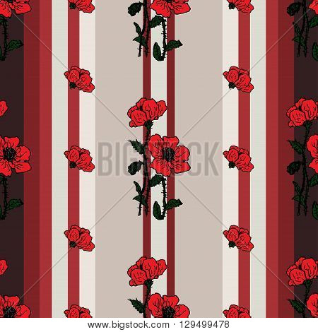 Summer or spring design of  Seamless floral pattern with red flowers of poppies on the retro striped background. Vector spring flower retro banner, spring vintage card, wallpapers, textile, packaging