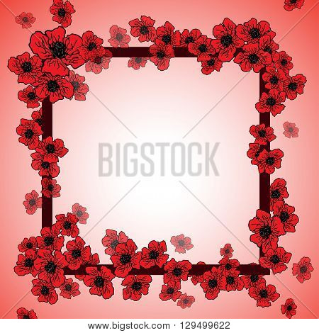 Summer or spring design of card with red floral frame with poppies. vector spring flower banner, spring flower card, invitation card, thanksgiving and other