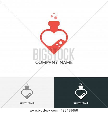 Love logo - heart shaped test tube with bubbles on the white background