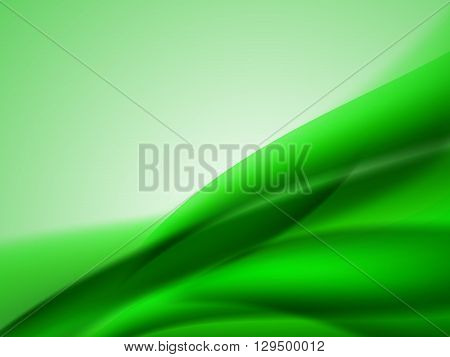 Abstract bright summer background with green wavy lines in the corner of the image, vector illustration