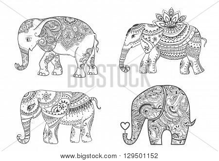 Big set card with Elephant. Frame of animal made in vector. Elephant Illustration for design, pattern, textiles. Hand drawn map with Elephant. Use for children clothes, pajamas, web sites