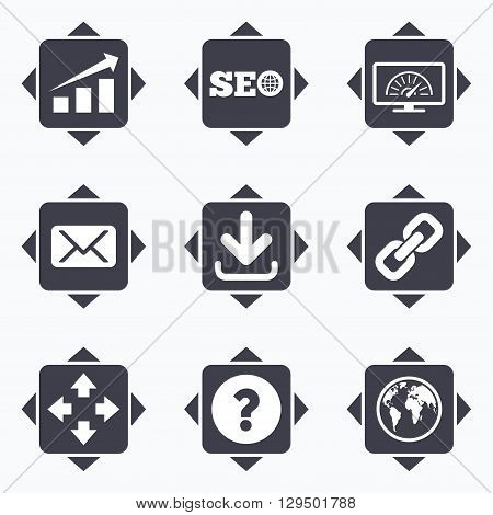 Icons with direction arrows. Internet, seo icons. Bandwidth speed, download arrow and mail signs. Hyperlink, monitoring symbols. Square buttons.