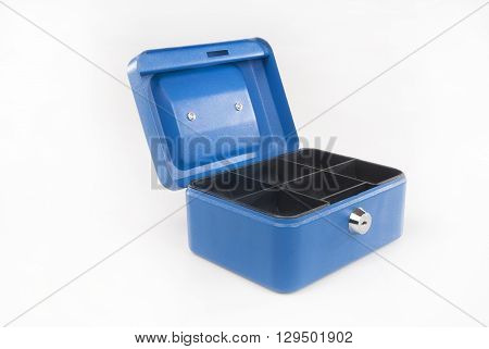 Blue cash box isolated against white backround