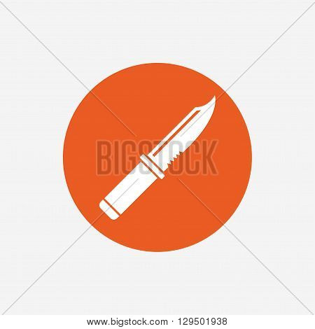 Knife sign icon. Edged weapons symbol. Stab or cut. Hunting equipment. Orange circle button with icon. Vector