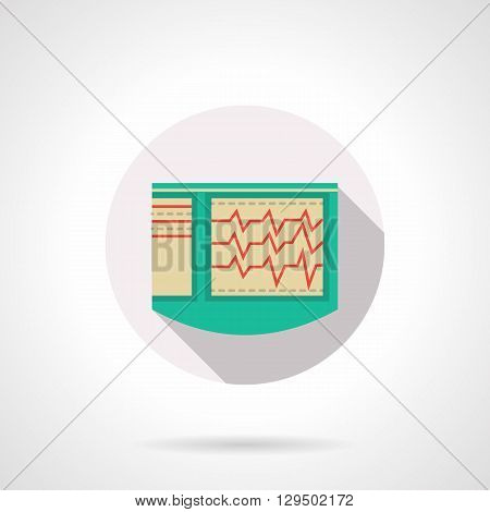 Green cardiograph with long shadow. ECG, equipment for cardiological diagnosis. Medical equipment and research. Round flat color style vector icon. Web design element for site, mobile and business.