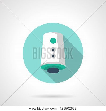 Air freshener device with long shadow. Eco production for aromatization air in house. Save environment and ozone layer. Round flat color vector icon. Web design element for site, mobile and business.