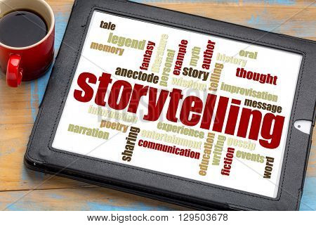 storytelling word cloud on a digital tablet with a cup of coffee