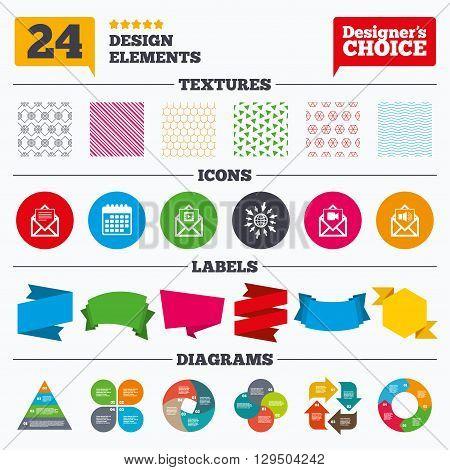 Banner tags, stickers and chart graph. Mail envelope icons. Message document symbols. Video and Audio voice message signs. Linear patterns and textures.