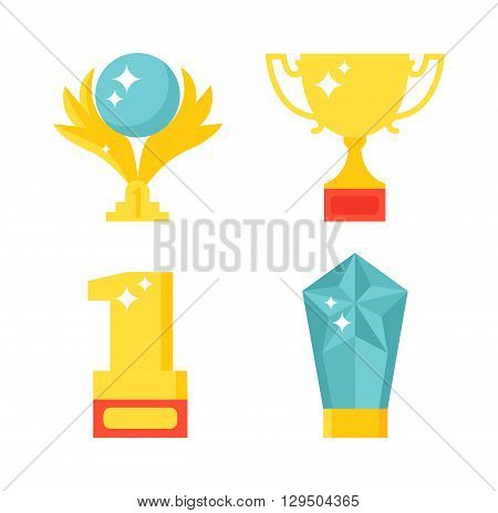 Trophy and awards icons set. Award icons vector and flat award icons prize. Award icons medallion honor and award icons winner symbol.  Achievement icon prize design victory set. Badge cup emblem.