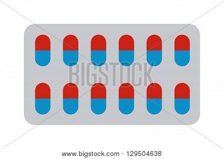 Medical pills in blister pack isolated on white background. Pills blister vector illustration and pills blister health medical tablet pack. Pills blister health medical pack tablet vitamin antibiotic.