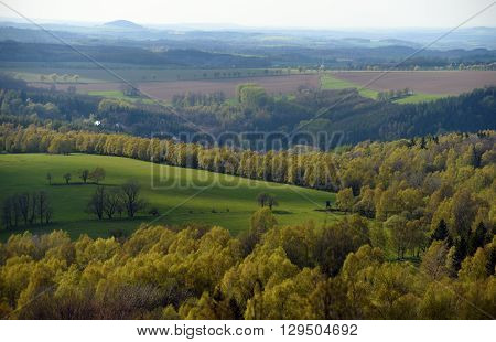 View from Spicak hill in Krusne hory mountains