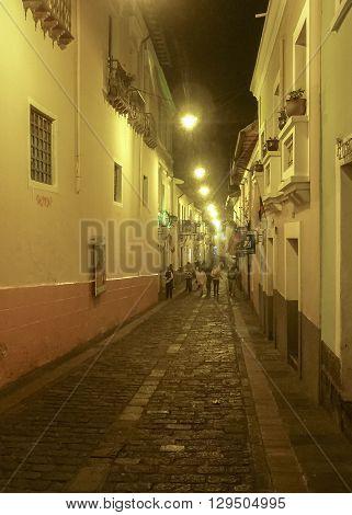 La Ronda Traditional Colonial Street Quito Ecuador