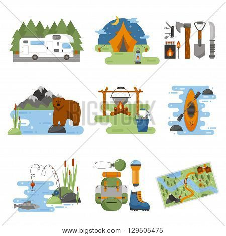 Set of camping equipment symbols vector icons. Camping tent and camping fishing rod travel backpack. Campfire activity camping travel backpack. Camping hike tourist campsite fun nature element set.