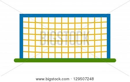 Soccer goal post with net. Association football goal on field. Qualitative vector illustration football goal for soccer, sport game, championship, gameplay. Football goal soccer sport game field.