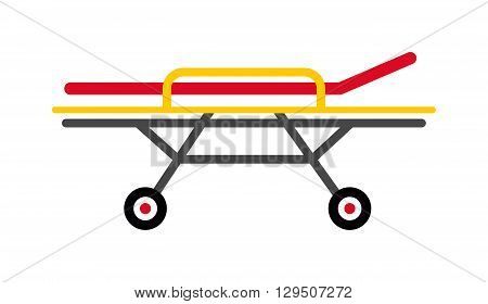 Vector colored flat design yellow medical emergency stretcher metal frame rubber black wheels illustration. Stretcher isolated and medical stretcher emergency care patient health hospital tool.
