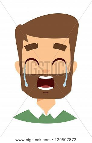 Tears in eyes of crying adult man. Crying man vector and cartoon crying man face. Crying man sadness emotions and crying man expression face adult male portrait pain, depression man face.