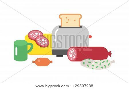 Quick lunch french sandwich in different angle ingredients. quick lunch fast dinner and quick lunch fast food meat. Healthy quick lunch food and quick lunch ham nutritious menu flat vector icons.