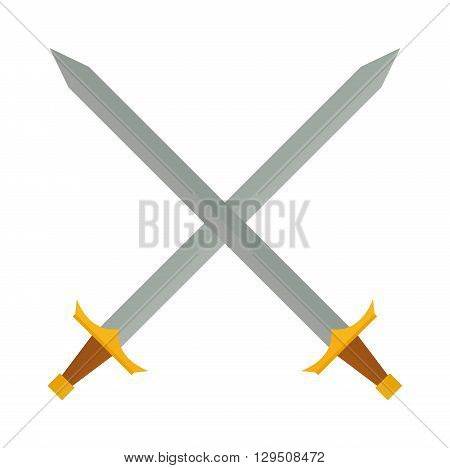 Crossed swords silhouette on white background. Medieval weapons cross swords. Collection of vector edged weapons cross swords. Silver metal sword crossed with red handles. Old cross swords.