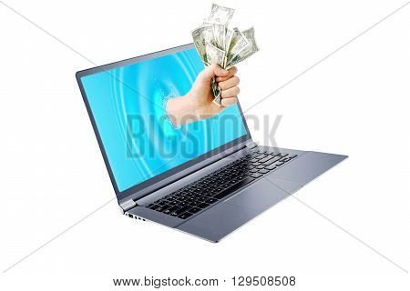 Getting money from a laptop monitor screen