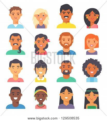 Group people nationality race at work teamwork avatars. Flat design characters people nationality race. Set diverse avatars people nationality race. Different nationalities, clothes and hair styles.