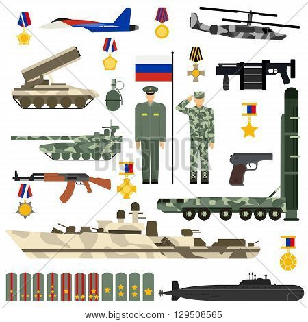 Russian Army military gun set. Military historical russian army vector icons set. Russian army gun weapon force and russian army people parade power world. Russian army may flag armored vehicle.