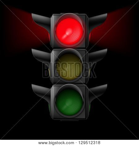 Realistic traffic lights with red lamp on. Illustration on black background