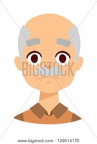 Old wrinkled man against white background. Sadness grandpa face vector and sadness grandpa face pensioner people. Sadness grandpa face senior grandfather people elderly wrinkles aging human.