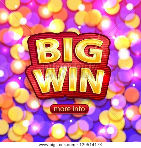 Big Win background for online casino, poker, roulette, slot machines, card games. Big Win banner.